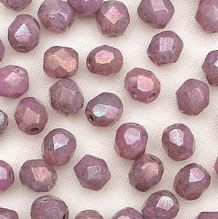 4mm Fire Polished, Opaque Amethyst Lustre - 50